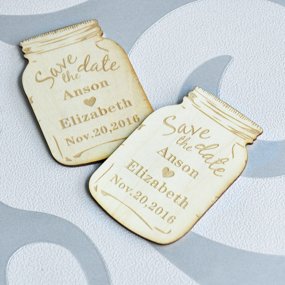 Personalised Wooden Save the Date Magnets, Rustic Mason Jar ...