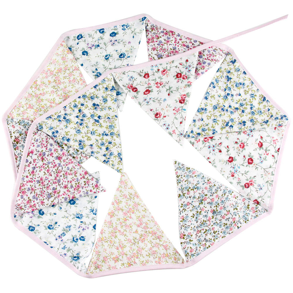 Cotton Print Floral Bunting Flags, 3m+