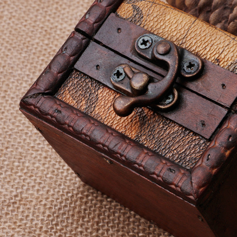 Vintage Map Leather Wooden Ring Box