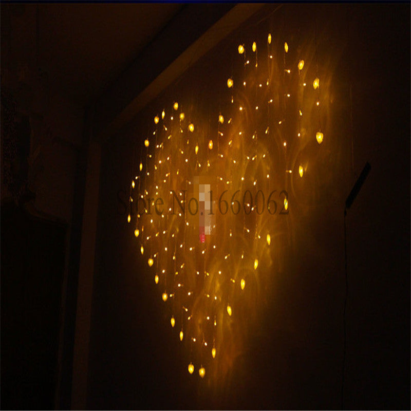 Giant Heart LED Curtain Fairy Lights 2x1.5M