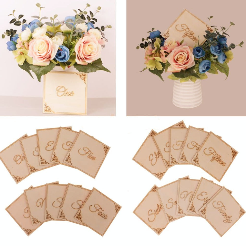 Engraved Wooden Table Numbers 1-10, 11-20