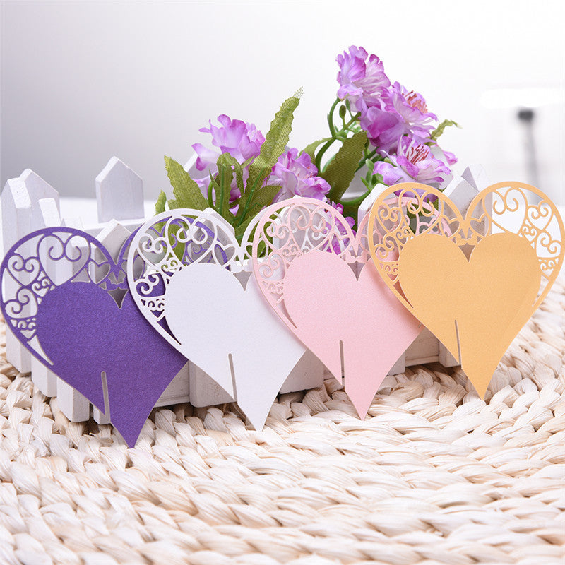 Heart and Butterfly Name Cards for glass, 50 pieces