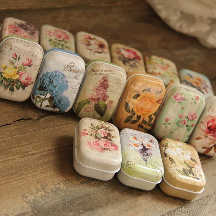 Vintage Flower Print Mini Tin Boxes x 32 Pieces