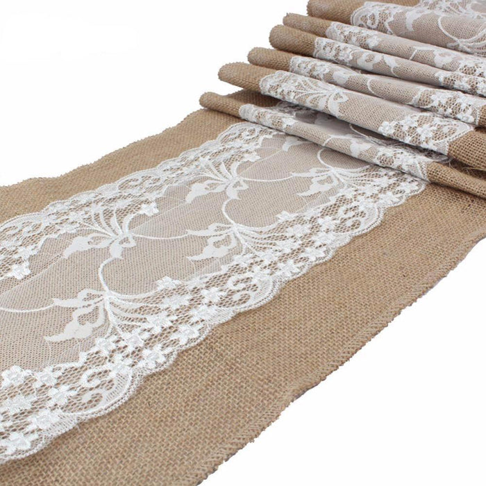 Burlap Table Runner with Wide Lace Feature