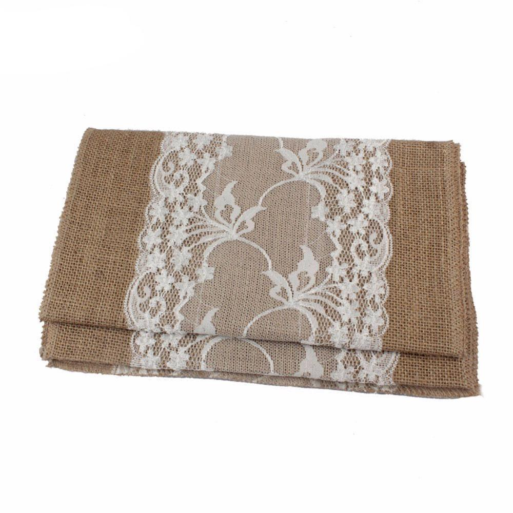 Burlap Table Runner with Wide Lace Feature, 10 pieces