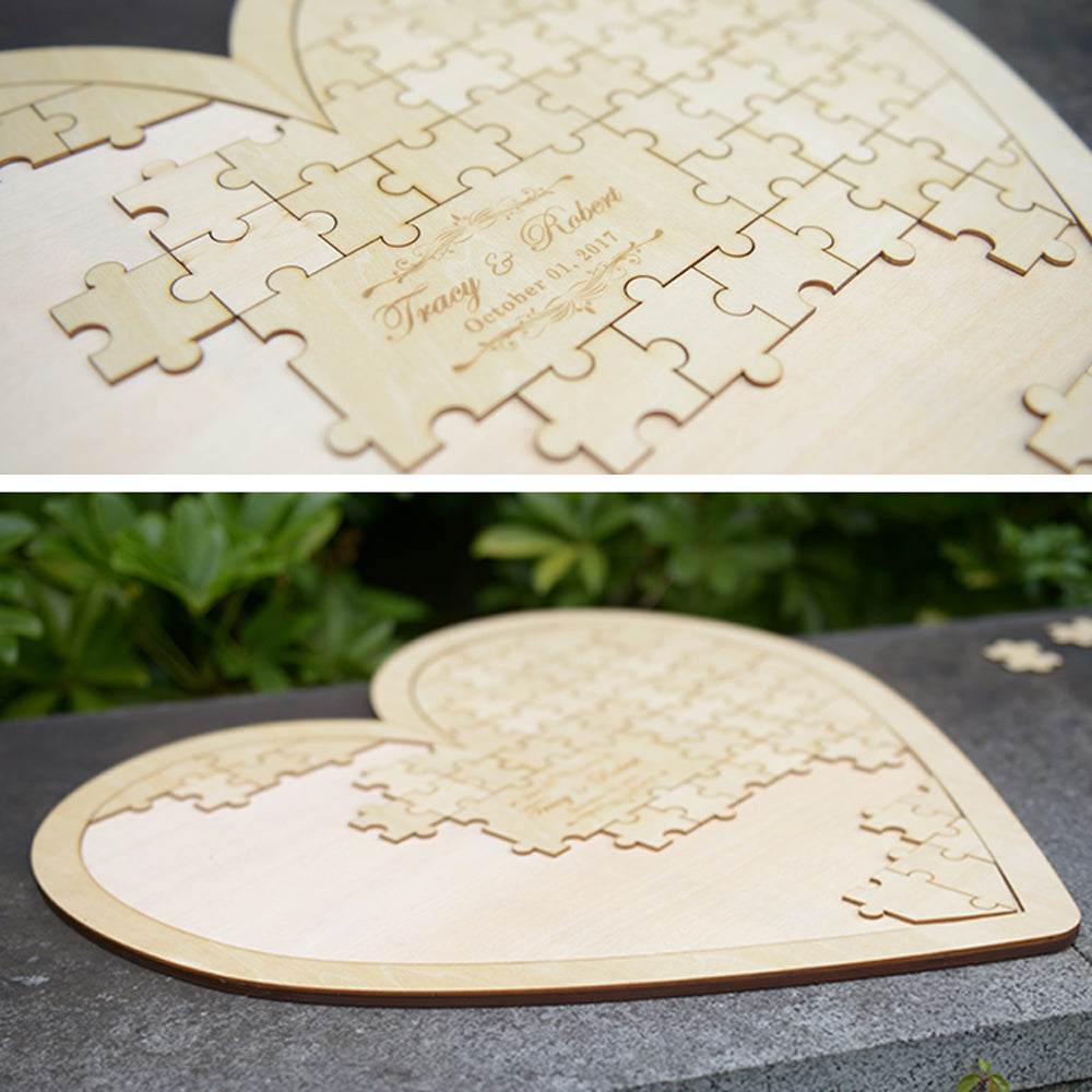 Personalised Alternative Guest Book Heart Puzzle- Customised