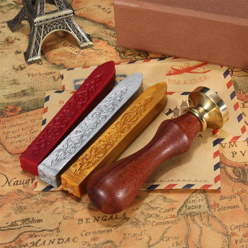 Vintage Wax Seal Kit with 3 Wax Sticks and Stamp
