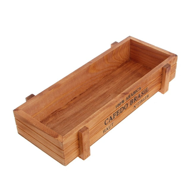 Vintage Wooden Crate Planter Box