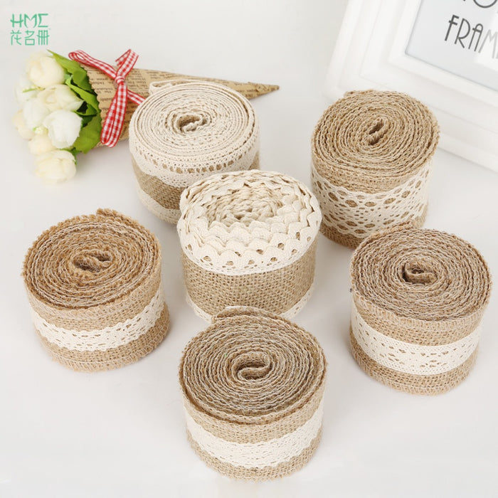 Burlap and Crochet Lace Ribbon, 2 metres