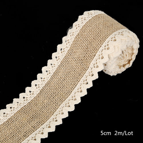 Burlap and Crochet Lace Ribbon - Style 5