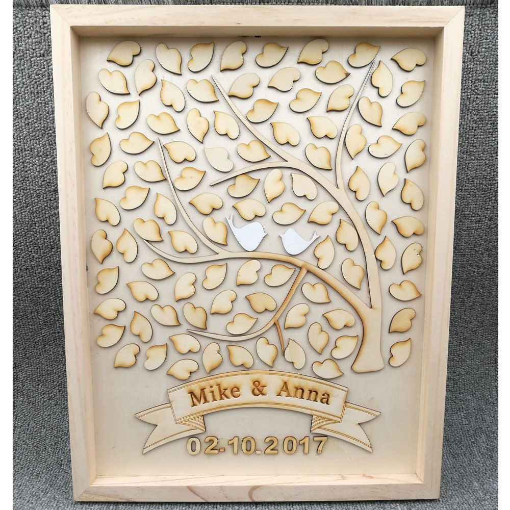 Wooden Wedding Guest Book Tree with Love Birds - personalised