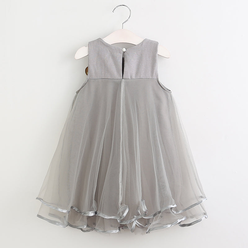 Layered Tulle Flower Girl Dress with Removable Corsage