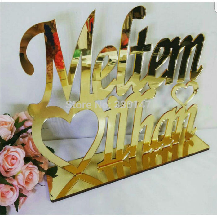 Customised Mirrored Names, gold or silver