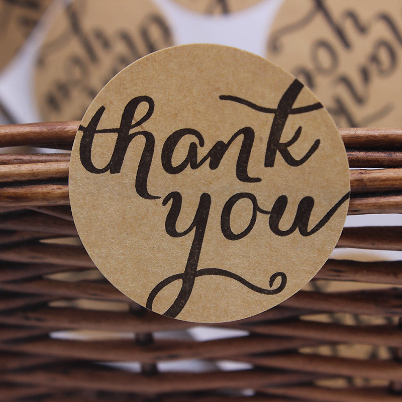 "Brown Kraft ""Thank You"" Stickers"