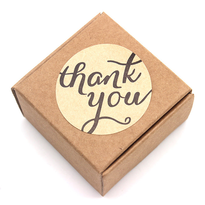 "Brown Kraft ""Thank You"" Sticker in Kraft Box"