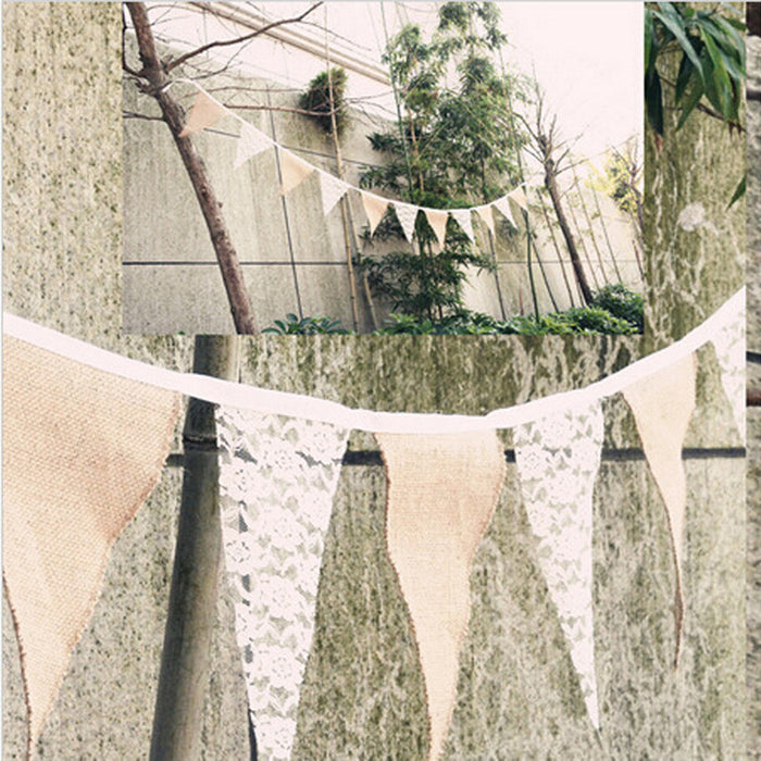 Burlap and Lace Bunting Banner Flags, 3+ metres