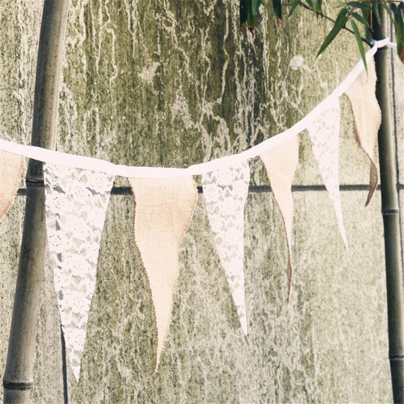 Burlap and Lace Bunting Banner Flags
