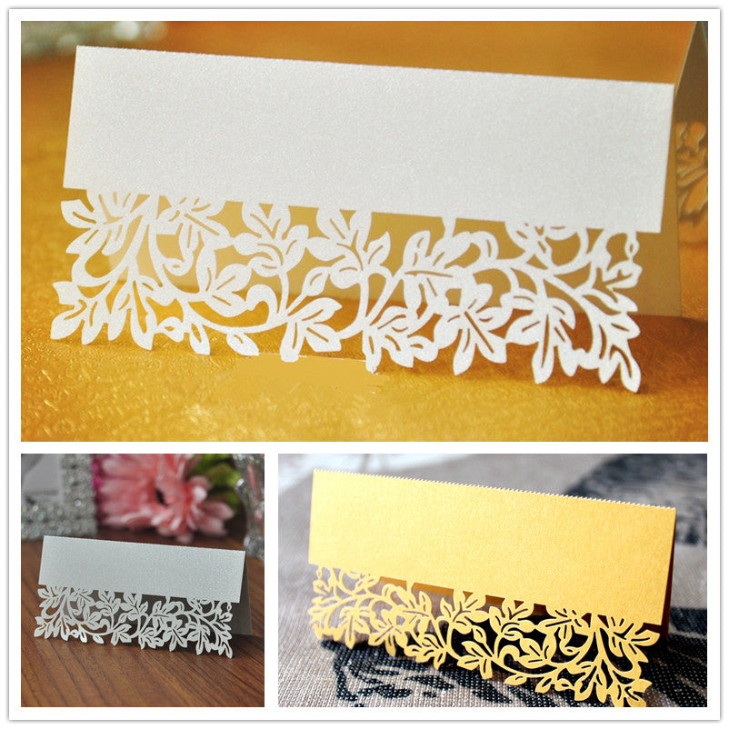 Lace Leaf Table Name Cards, Ivory, Gold or Silver, 50 peices