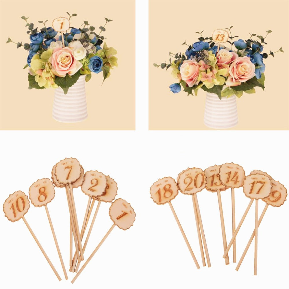 Wooden Engraved Table Number on Sticks, 1-10 or 11-20