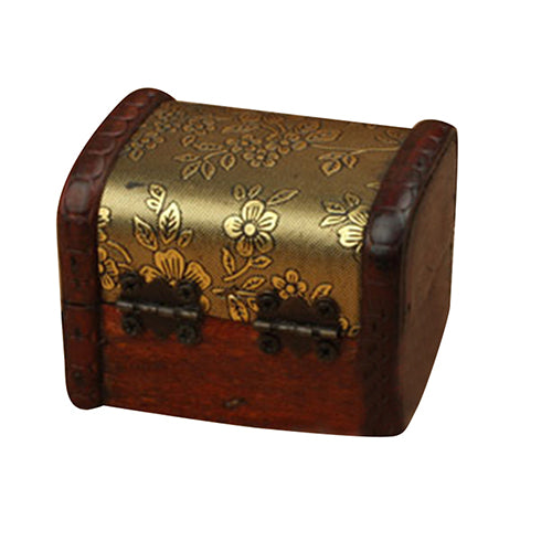 Golden Floral Wooden Ring Box