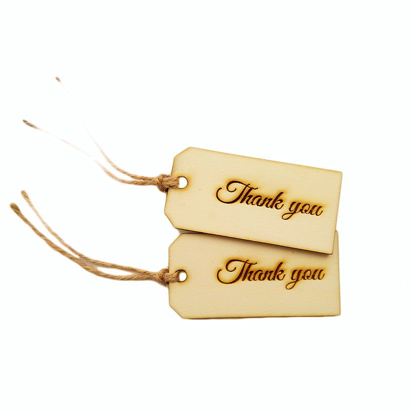 Wooden Engraved Thank You Tag- 10 pack