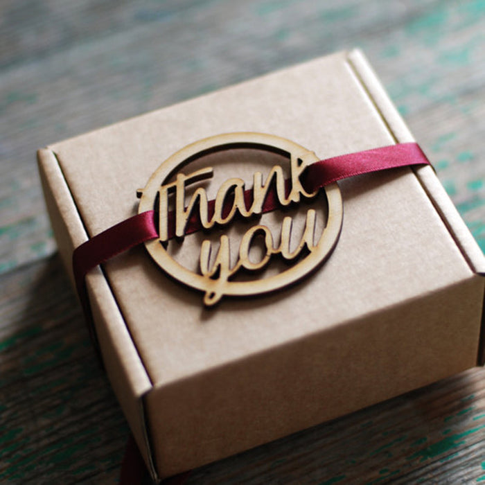 Wooden Round Thank You Tag- 10 pack
