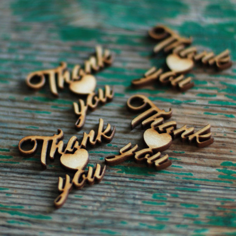 Wooden Laser Thank You Tag- 10 pack