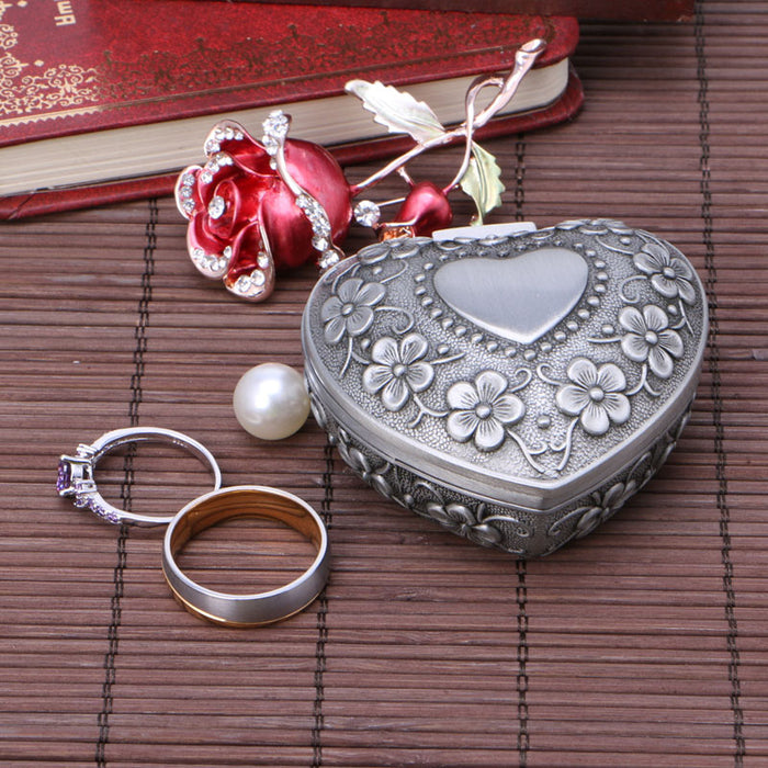 Vintage Floral Pewter Heart Ring Box
