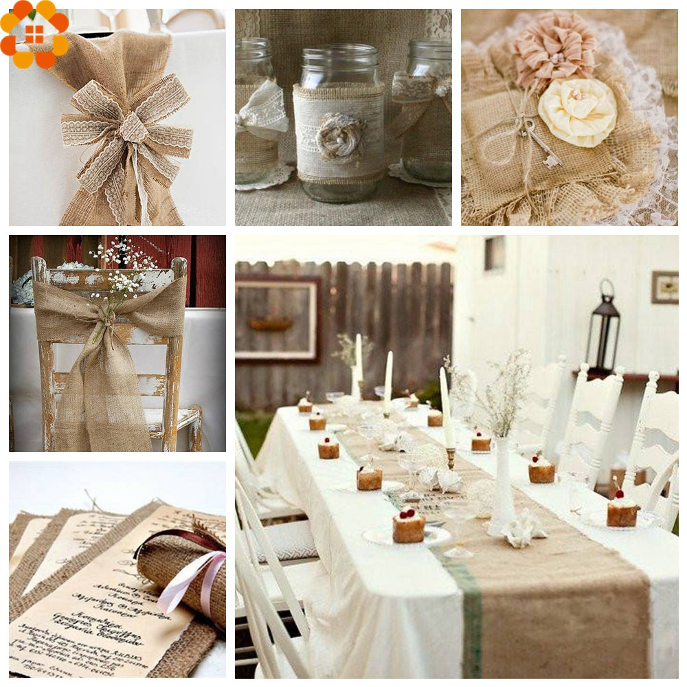 Burlap Hessian Roll - Reception set up