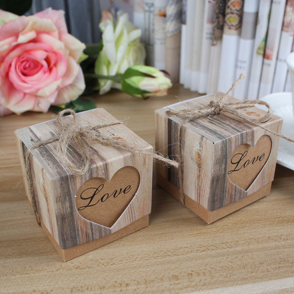 Rustic Wedding Favour Box with Lid and Jute String, 50 pieces