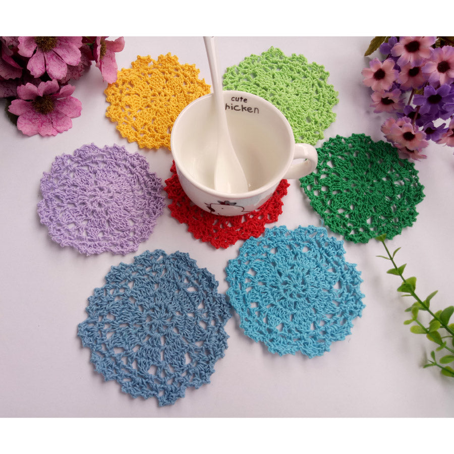 Handmade Cotton Doily Coasters x 50, 12 colours