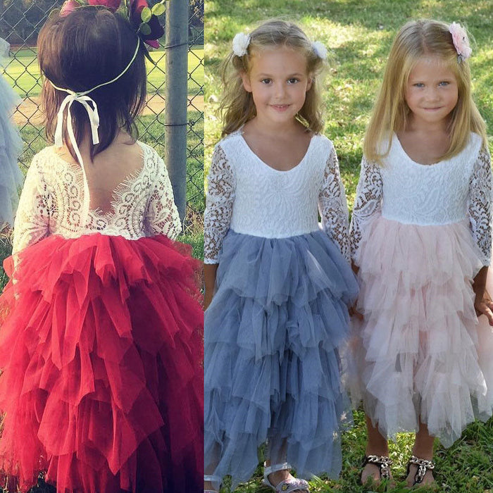 Long Sleeved Lace and Tulle Flower Girl / Baby Dress (Size 0-4)