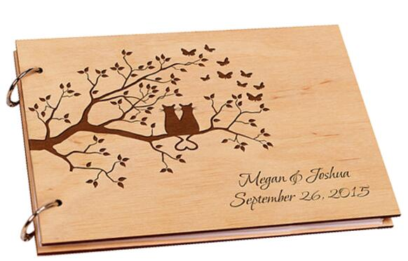 Rustic Wooden Guestbook, Customised