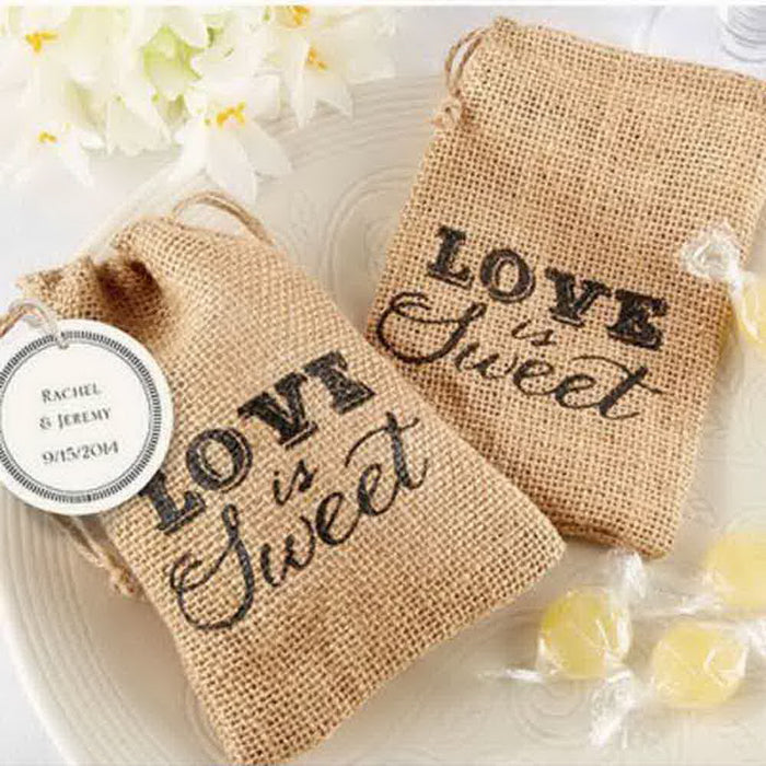'Love Is Sweet' Burlap Favour Drawstring Bags, 50 pcs