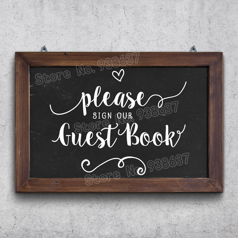Custom Wedding Guestbook Sign Decal blackboard