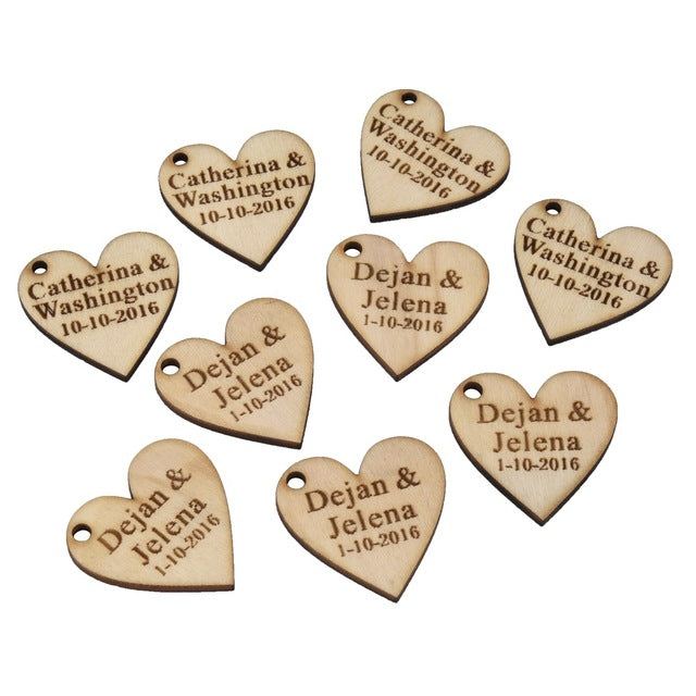 Personalised Heart Shaped Wooden Gift Tags, 50 pieces