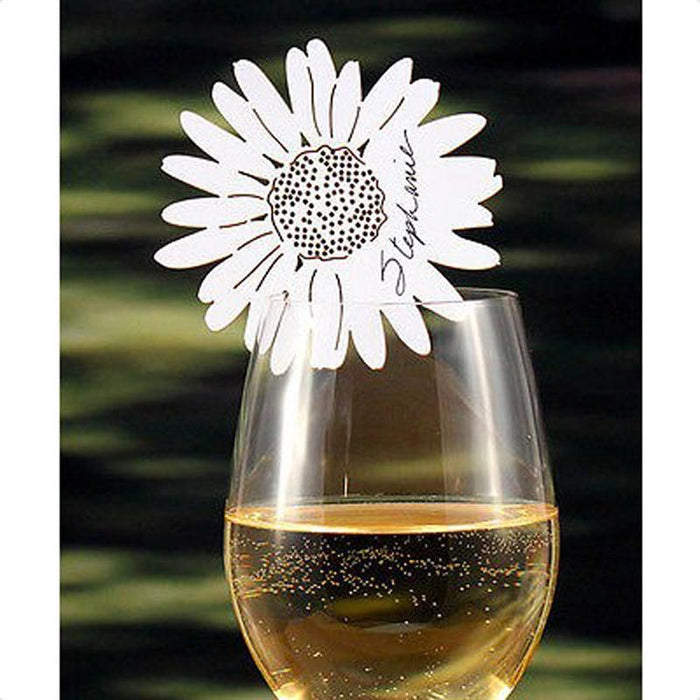 Daisy Flower Name Cards for Glass, 50 pieces
