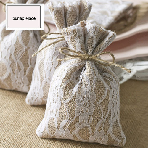 Burlap Pouch with Lace Overlay Favour Bags