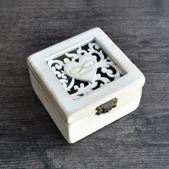 Customised Square Ring Box with Rustic Detail