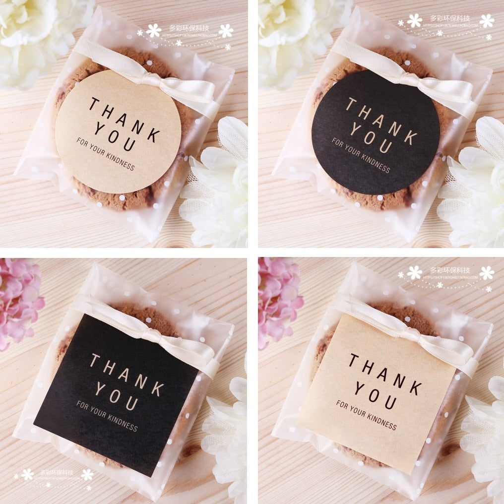 Thank You Stickers x 60, round or square, black or kraft