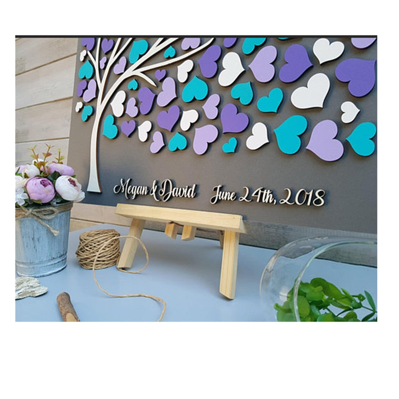 Layered Guestbook Art: Multi Colour Heart + Birds Tree - Customised Colour, Name & Date