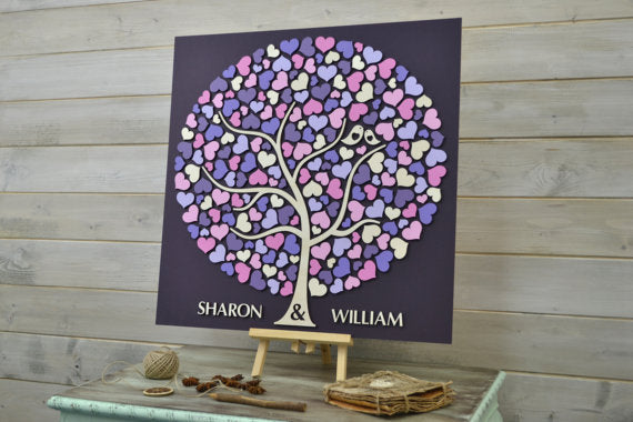 Layered Guestbook Art: Multi Colour Heart + Birds Round Tree - Customised Colour, Name