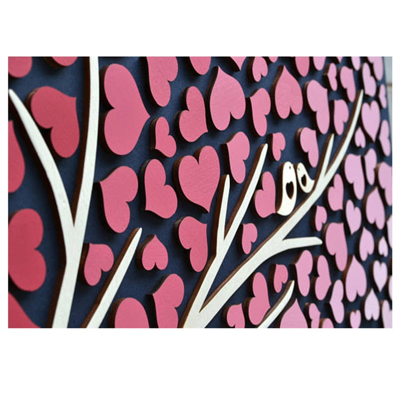 Layered Guestbook Art: Gradient Colour Heart + Birds Tree - Customised Colour, Name & Date