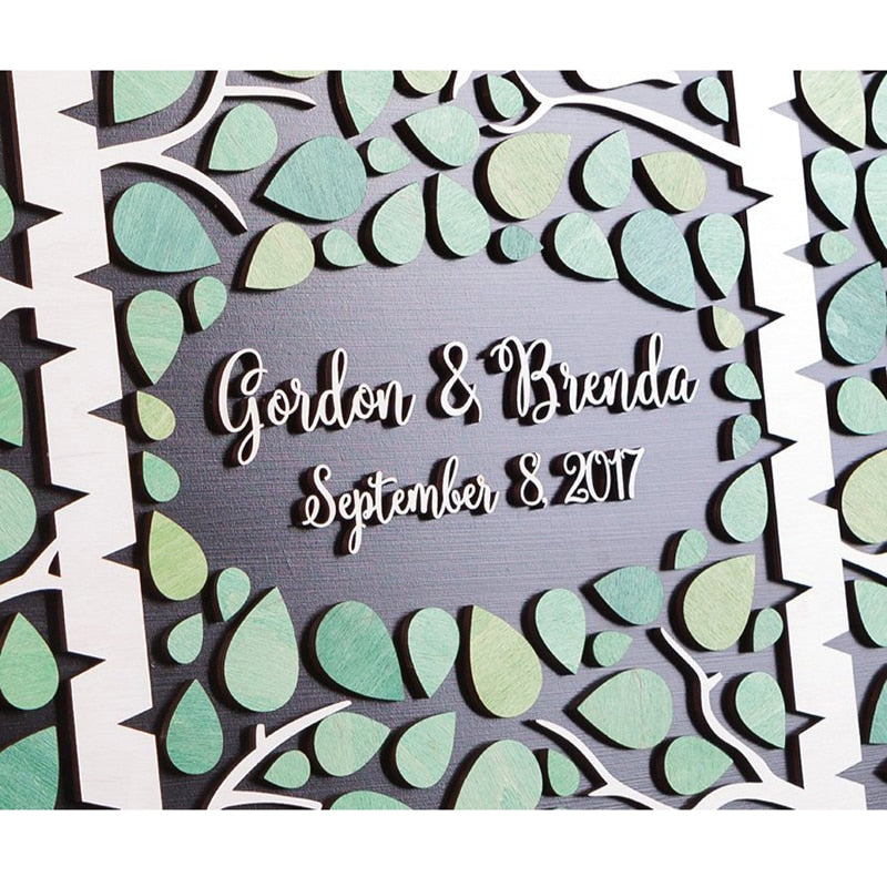 Layered Guestbook Art: Birch Trees + Birds - Customised Colour, Name & Date