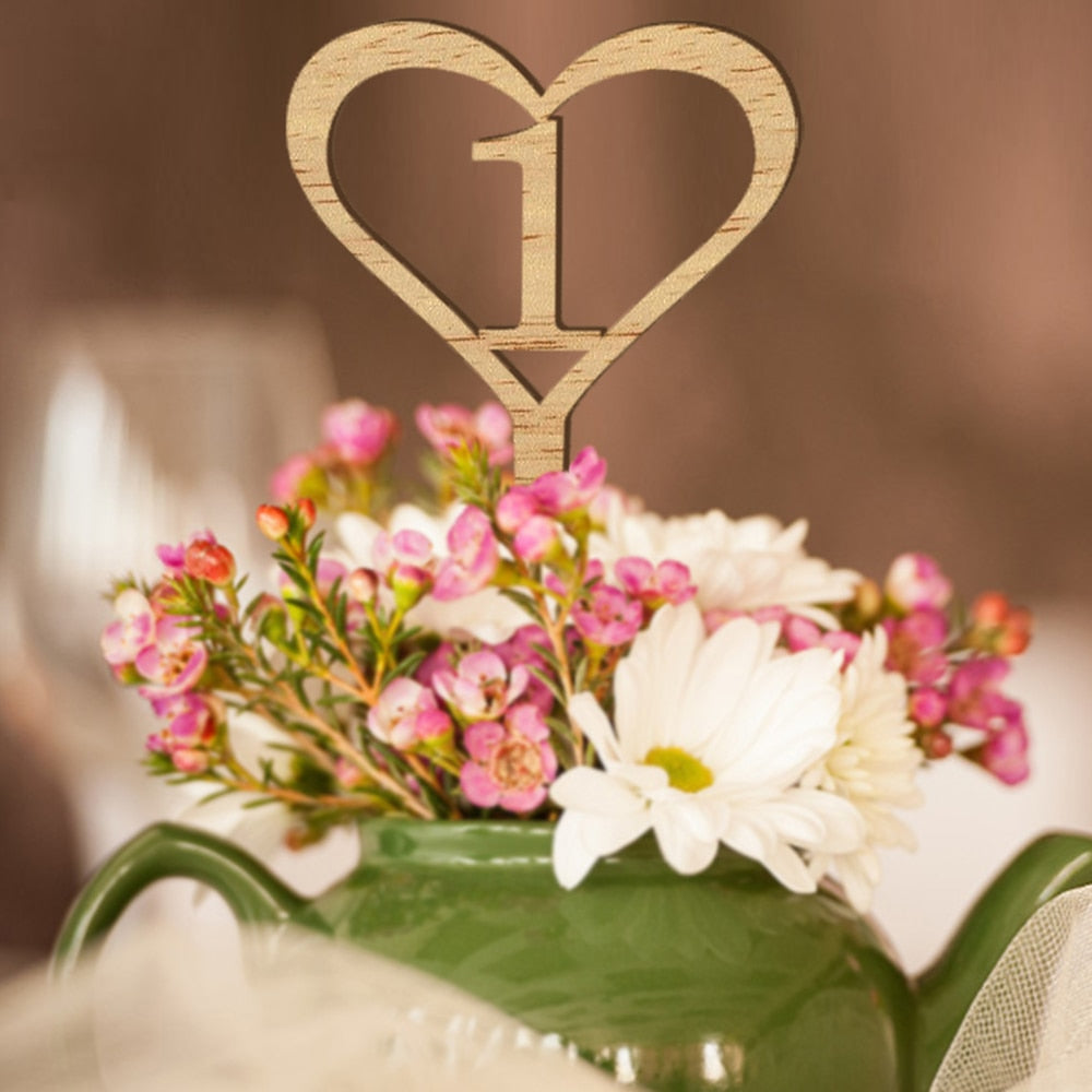Wooden Heart Table Numbers on Stakes 1-10