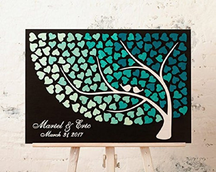 Layered Guestbook Art: Multi Colour Heart + Birds Round Tree - Customised Colour, Name & Date