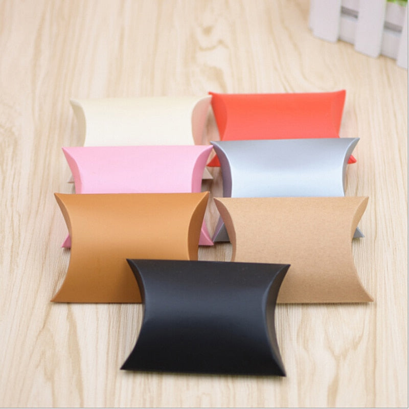 Pillow Boxes (Kraft paper + other colours) for wedding favours - 10 Pack