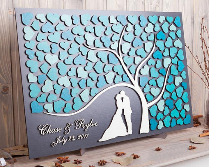 Layered Guestbook Art: Multi Colour Heart + Couple Tree - Customised Colour, Name & Date