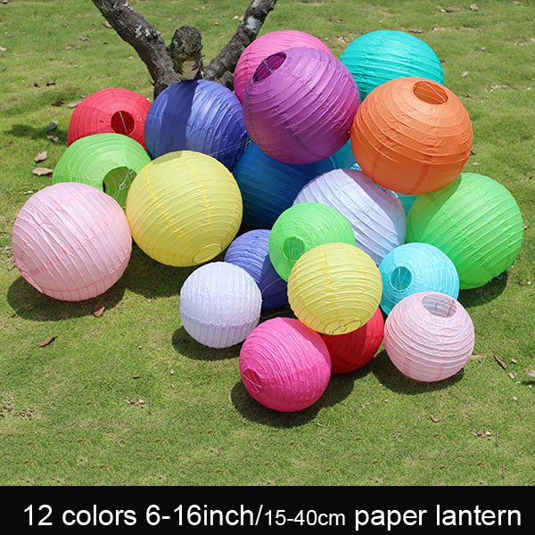 Round Paper lanterns, 10 pieces, many colours and sizes