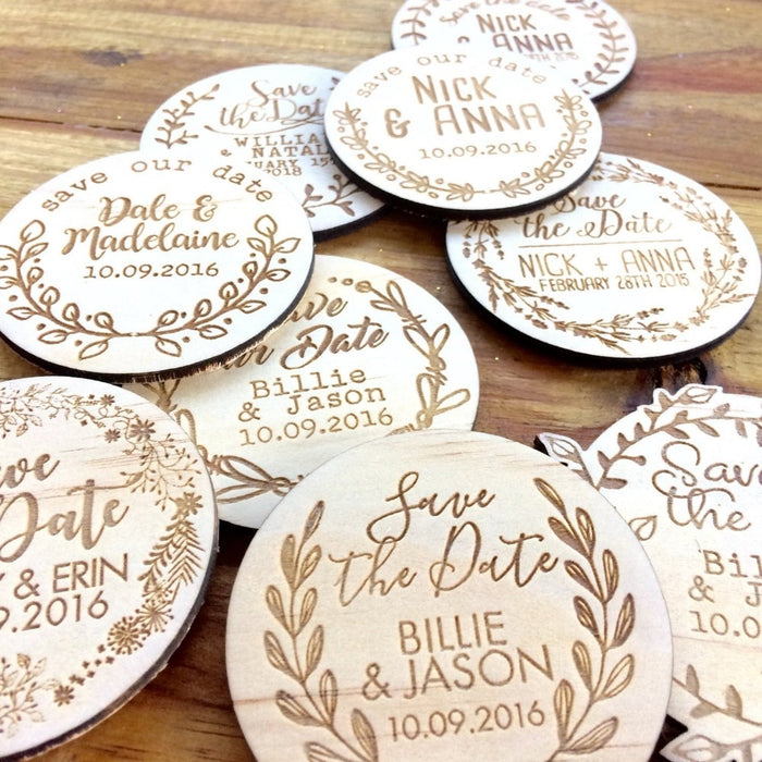 Save The Date Rustic Round Wooden Magnets